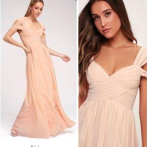 Lulu's Make Me Move Blush Pink Draped Maxi Dress S